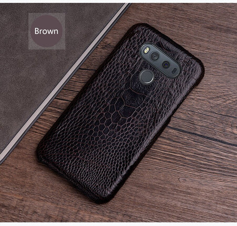 Phone Case For lg g6 case G3 G4 G5 G7 G8s ThinQ V10 V20 V30 V40 V50 Thinq Q6 Q7 Q8 K4 K8 2017 Natural ostrich foot skin
