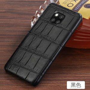 Genuine Leather Crocodile belly phone case for Huawei mate 20 pro mate 9 pro Crocodile skin individuality Plaid protective case
