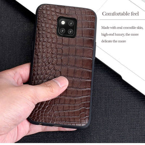 Genuine Leather Phone case For Huawei P30 P20 Lite Pro P10 Luxury Business crocodile cover For Mate 20 pro 10 lite honor v30 8x