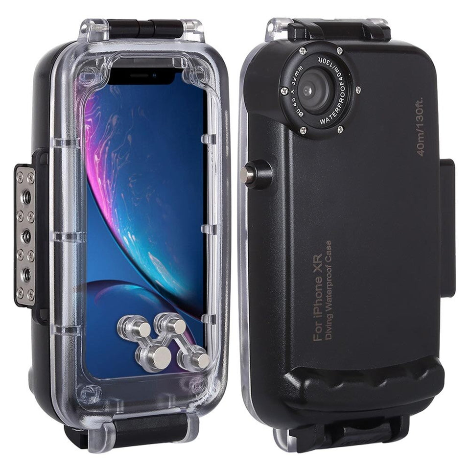 Professional Diving Case For iPhone XR Waterproof Case Funda Black White Transparent