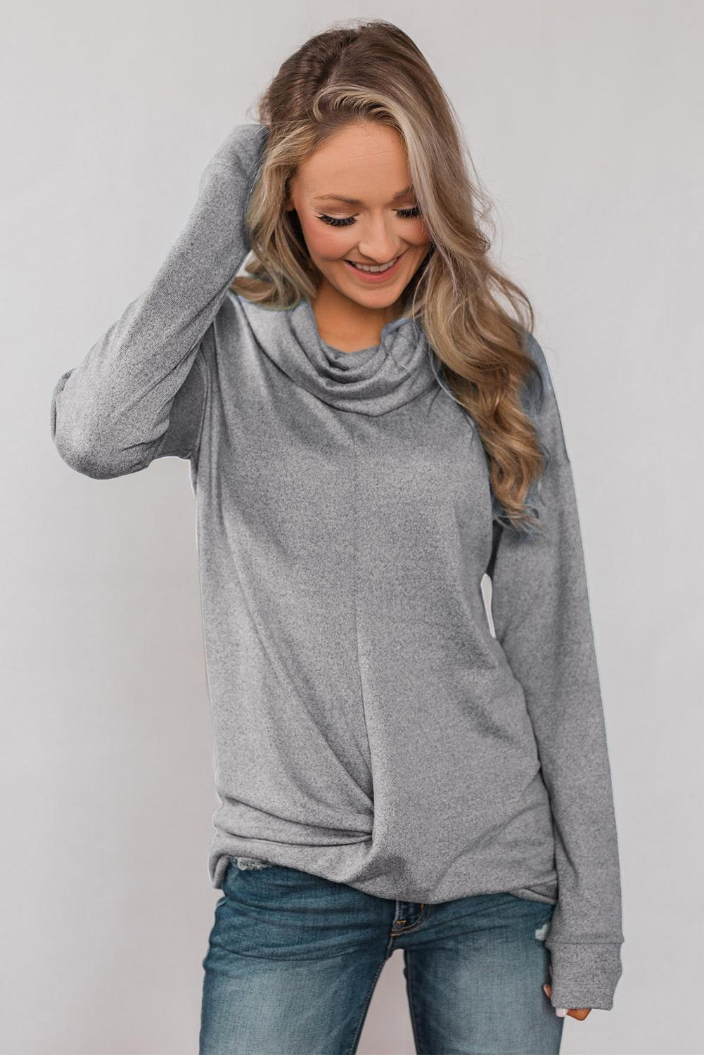 Gray Twist of Winter Cowl Neck Top