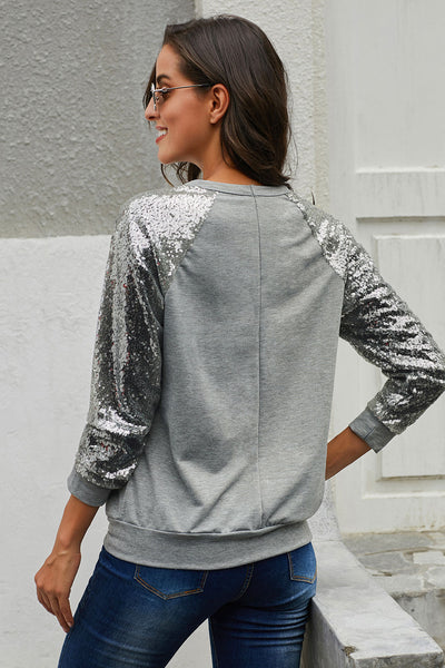 Gray Gotta Have It Sequin Knit Top