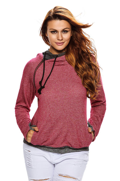 Heather Red Double Hooded Sweatshirt