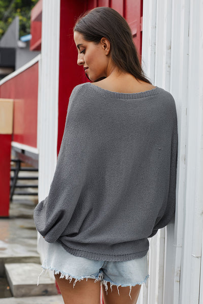 Gray Chillaxin' Dolman Knit Sweater
