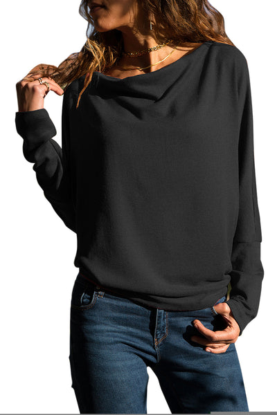 Solid Black Concise Pullover Sweatshirt
