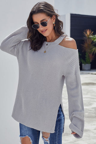 Gray Asymmetric Cut out Shoulder Pullover Sweater