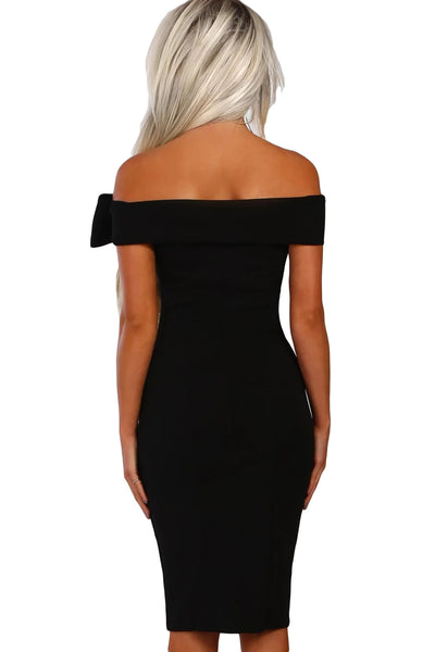 Black Bow Detail Bardot Bodycon Midi Dress