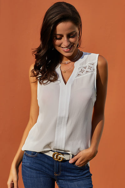 White Crochet Yoke Sleeveless Top