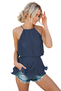 Blue Polka Dot Pleated Tie Top
