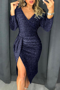 Blue Glitter Ruched Thigh Slit Party Metallic Dress