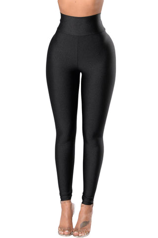 Black High Rise Tight Leggings with Waist Cincher