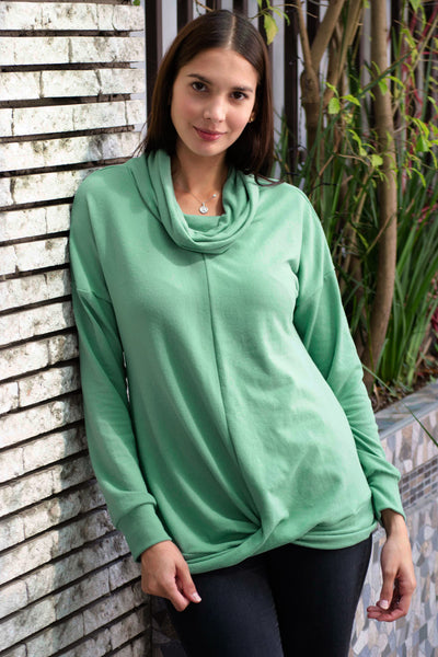Green Twist of Winter Cowl Neck Top