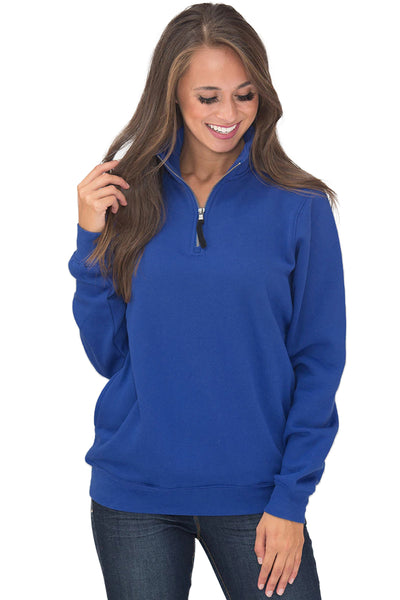 Navy Blue Pocket Style Quarter Zip Sweatshirt