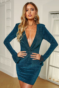 Glittering Sequin Plunge Neck Twisted Mini Dress
