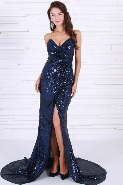 Sleeveless Navy Blue Gown