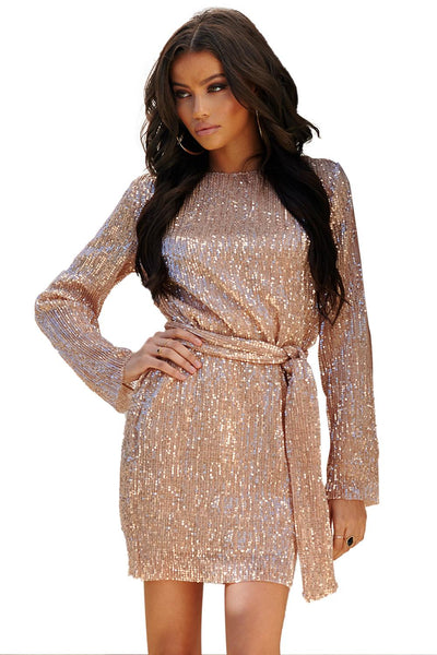 Apricot Sequin Belted Mini Dress