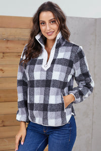 Gray Plaid Zip Neck Furry Sweatshirt