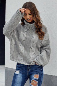 Gray Cuddle Weather Cable Knit Handmade Turtleneck Sweater