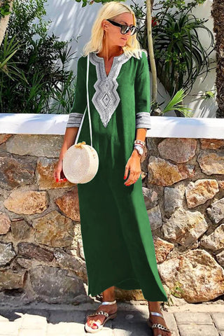 Green Casual Crochet Embroidered Slit Summer Dress