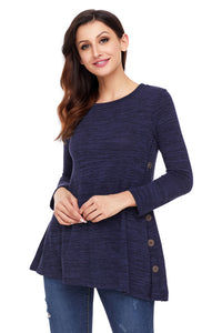 Navy Button Side Long Sleeve Swingy Tunic