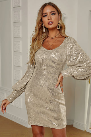 Apricot Metallic Puffy Sleeves Sequin Dress