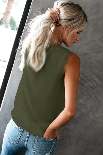 Green Sleeveless Eyelash Lace V Neck Tank Top