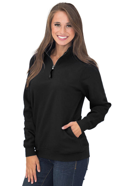 Black Pocket Style Quarter Zip Sweatshirt