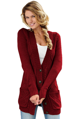 Burgundy Front Pocket and Buttons Closure Cardigan