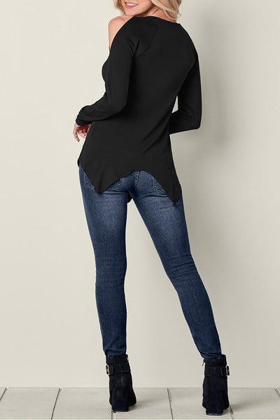 Black Long Sleeve Flowy Lace Cold Shoulder Top