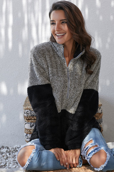 Gray Taupe Zip Neck Oversize Fluffy Fleece Pullover
