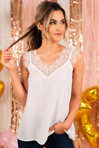 White V-Neck Blush Lace Tank