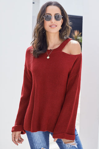 Red Asymmetric Cut out Shoulder Pullover Sweater