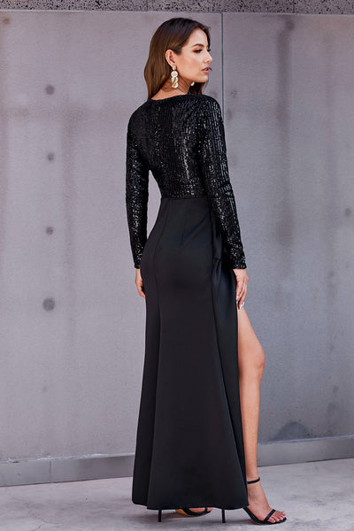 Black Long Sleeve V Neck Wrapped Sequin Bodice Long Party Dress