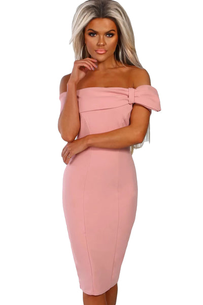 Pink Bow Detail Bardot Bodycon Midi Dress