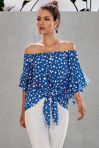 Sky Blue Polka Dot 3/4 Bell Sleeve Off Shoulder Front Tie Knot Top