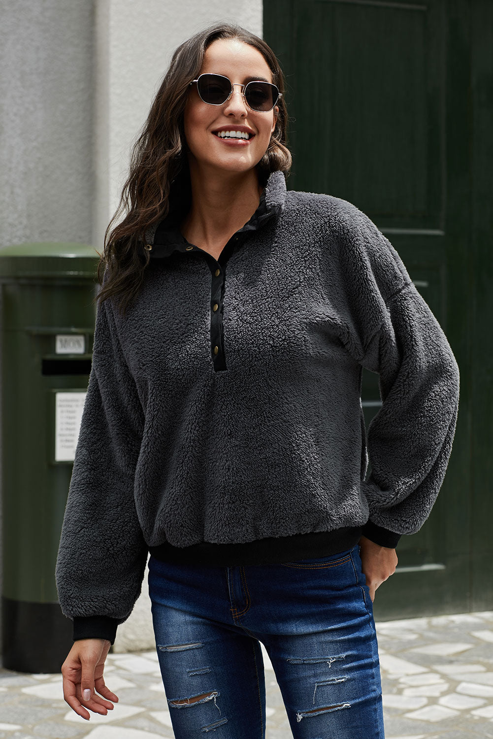 Gray Fleece Pullover Sweatshirt