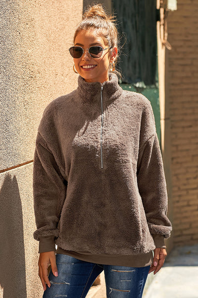 Brown Traverse Pocketed Sherpa Pullover Sweatshirt