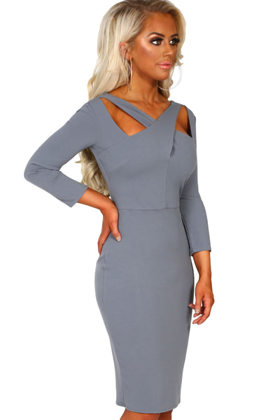 Gray 3/4 Sleeve Cross Over Bodycon Midi Dress