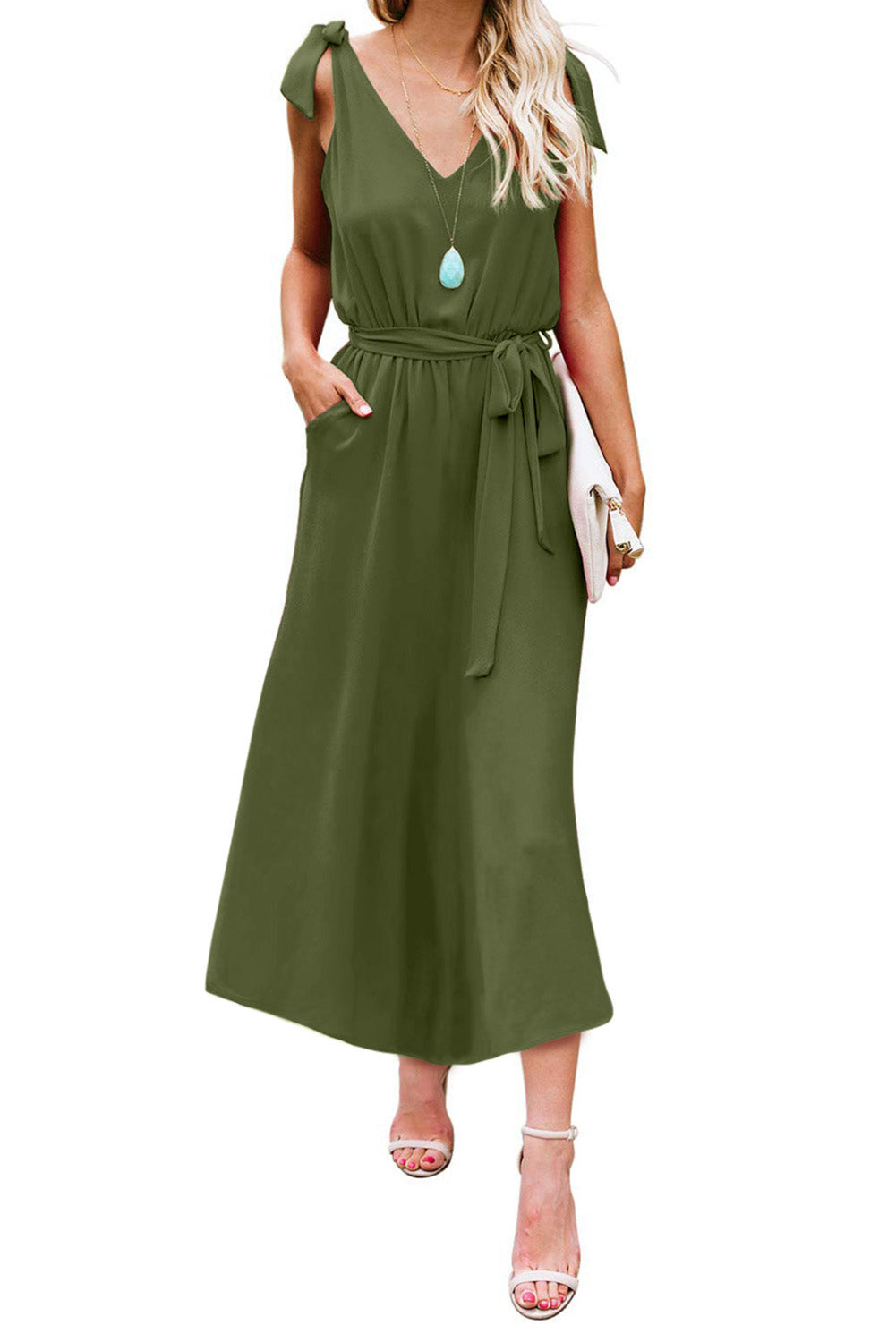 Green Bowknot Shoulder Straps Jersey Dress with Belt