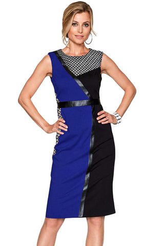 Blue Black Asymmetric Patchwork Leather Trim Sheath Dress