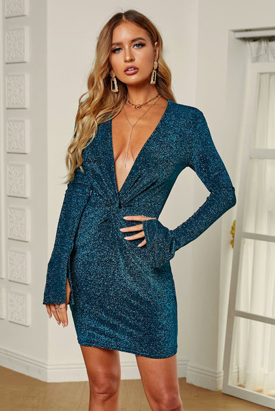 Green Glittering Sequin Plunge Neck Twisted Mini Dress