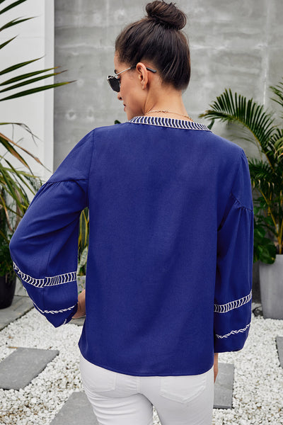Blue V Neck Bohemian Printed Lantern Sleeve Blouse