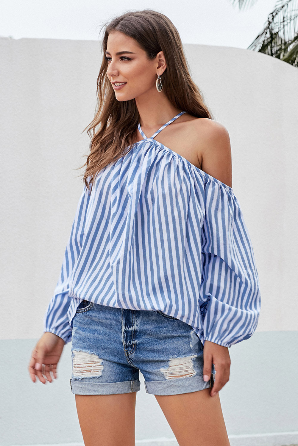Blue Striped Off Shoulder Halter Blouse