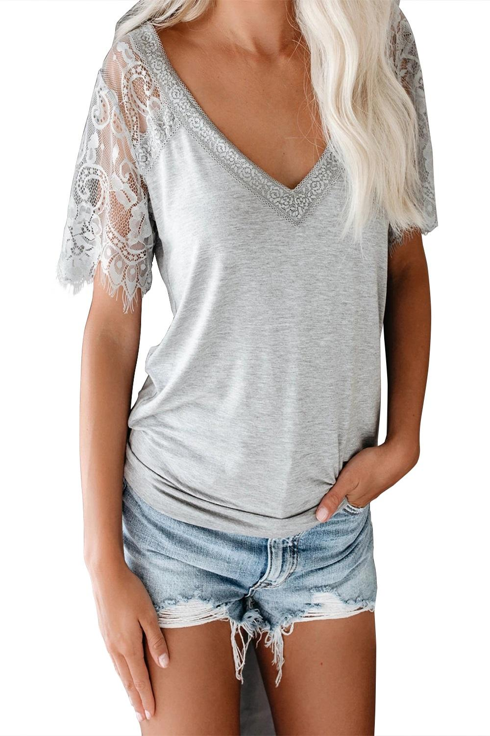 Gray Sweet Side Lace Deep V Neck Top T-shirt