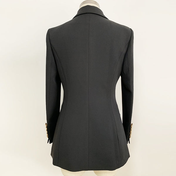 HIGH QUALITY Black and white Lion Buttons Single Button Color Block Blazer Jacket