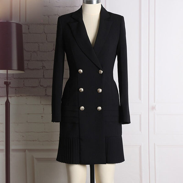 New Fashion Runway Designer Long Sleeve Notched Collar Double Breasted Buttons Dress