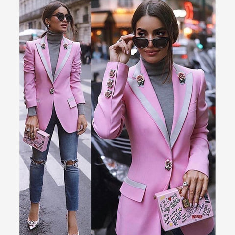 2020 Star Style Single Button Floral Liner Rose Blazer Outer Coat Pink