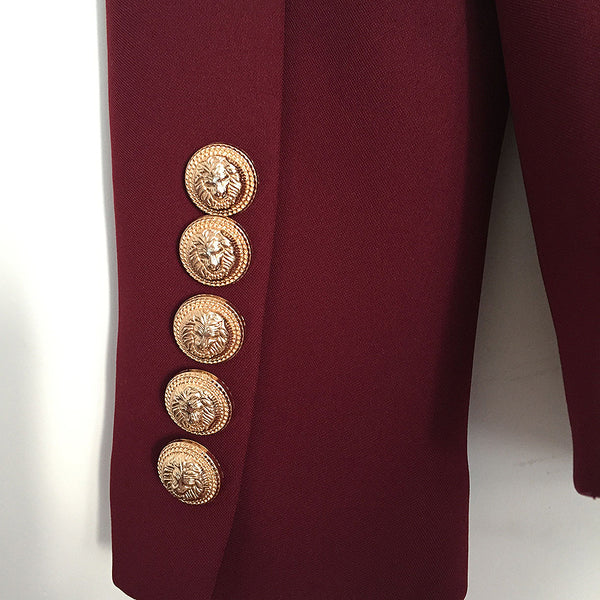 HIGH QUALITY Metal Lion Buttons Double Breasted Blazer Jacket Outer Coat