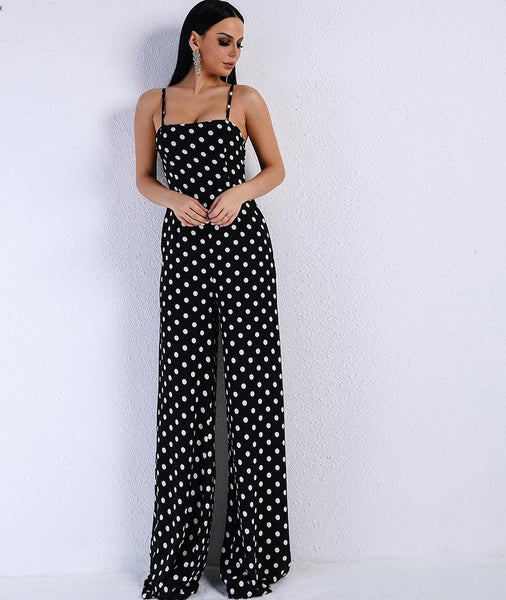2020 Sexy Elegant Off Shoulder dot Rompers sleeveless straps Backless tie Jumpsuit