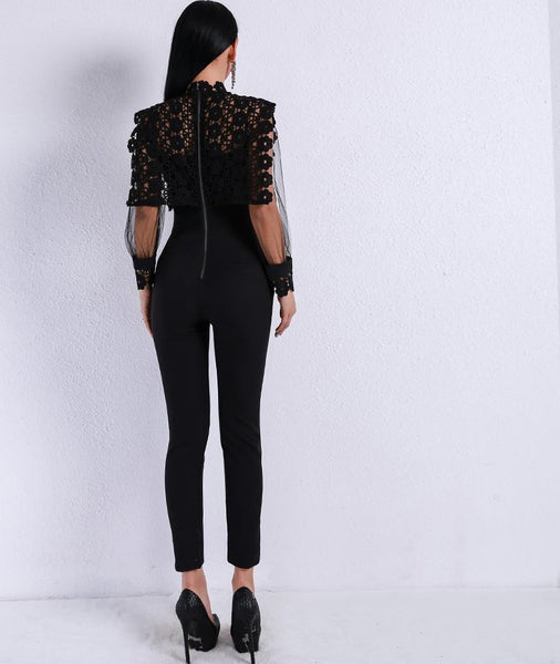 2020 Sexy Lace See Through Mesh Hollow Out Long Sleeve Rompers Black Color Jumpsuit